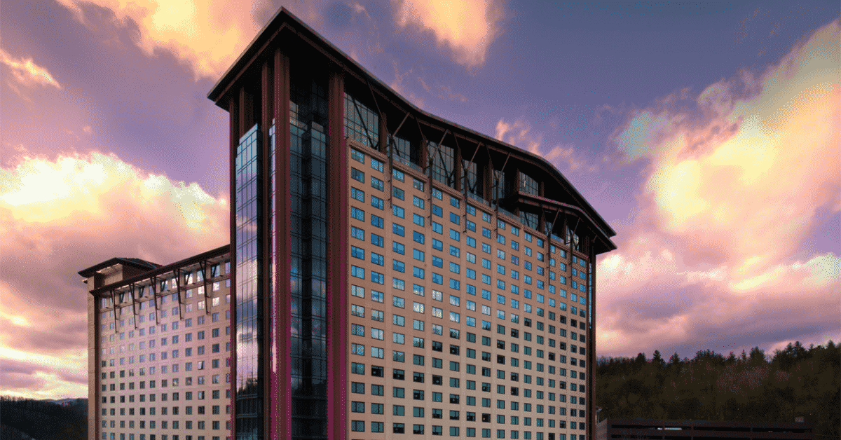 Harrah's Cherokee Hotel at Sunset